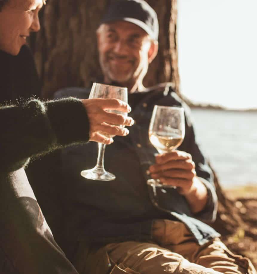 senior living and seniors enjoying wine
